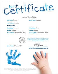 Certified and Notarized birth certificate
