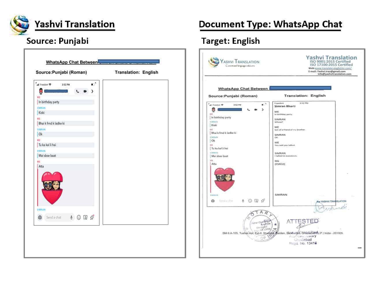 WhatsApp Chat Translation Punjabi (Roman) to English